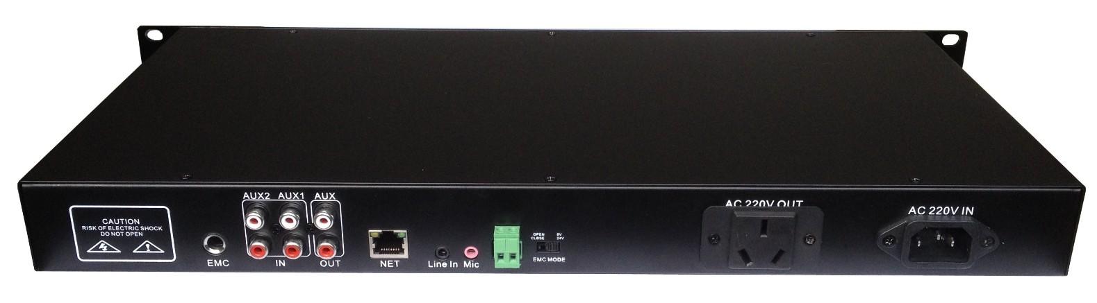 基于ARM+DSP架构  提供固件在线远程升级  标准RJ45网络接口,支持跨网段、跨路由器  支持一路立体声线路输出  支持两路本地音源输入、一路MIC音源输入  配备7个功能旋钮,调控设备工作状态  提供一路1000W受控电源接口,控制后级功放电源  后级受控电源提供自动、手动、强切三种开启模式  可以使用ip地址、编号、地址薄搜索等功能  具有三级优先:MIC > 网络 > 本地  实现本地广播、网络广播  金属外壳