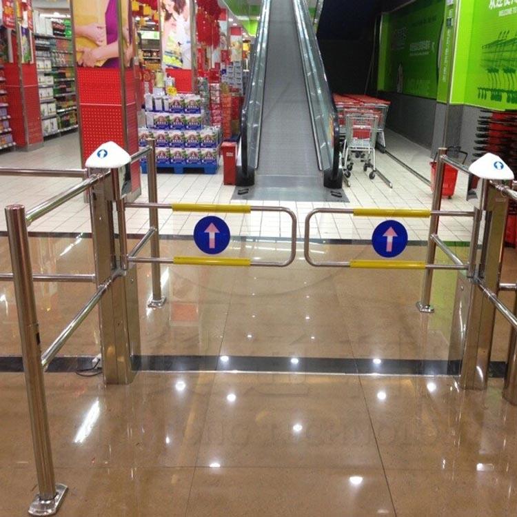 超市感应门,6柱方柱带帽镜面
